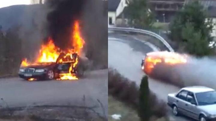 Plutselig begynte den brennende bilen å trille