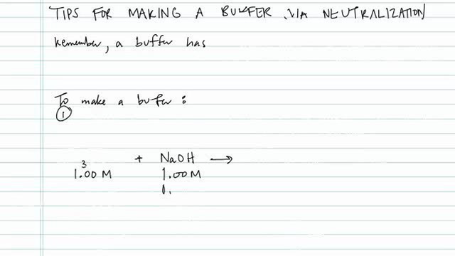 Tips for Making a Buffer via Neutralization