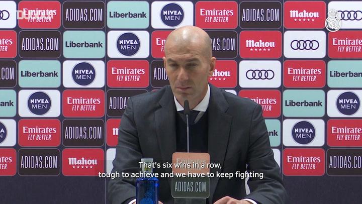 Zinedine Zidane: 'Winning six consecutive games isn't easy'
