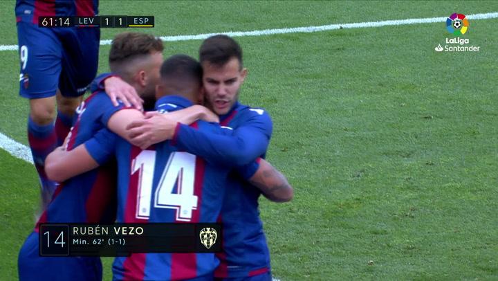 LaLiga: Levante-RCD Espanyol. Gol (1-1) de Rubén Vezo (min 62) .