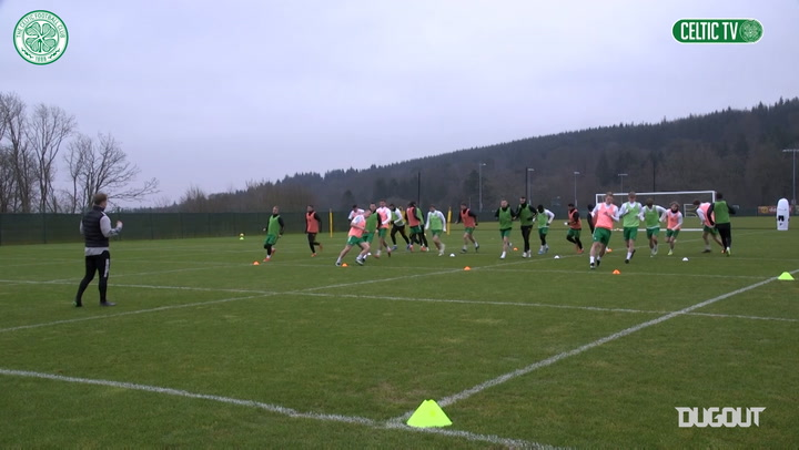 Celtic stars all smiles in training ahead of Dundee United