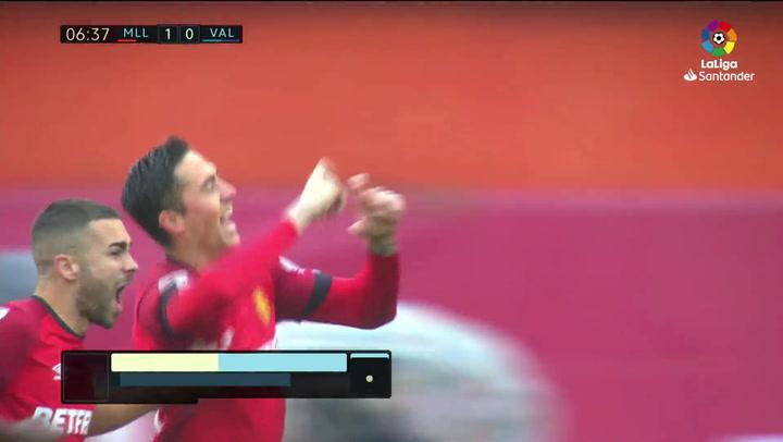 Gol de Raíllo (1-0) en el Mallorca 4-1 Valencia