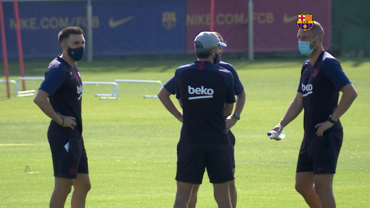 El entrenamiento del Barça previo al partido contra el Leganés