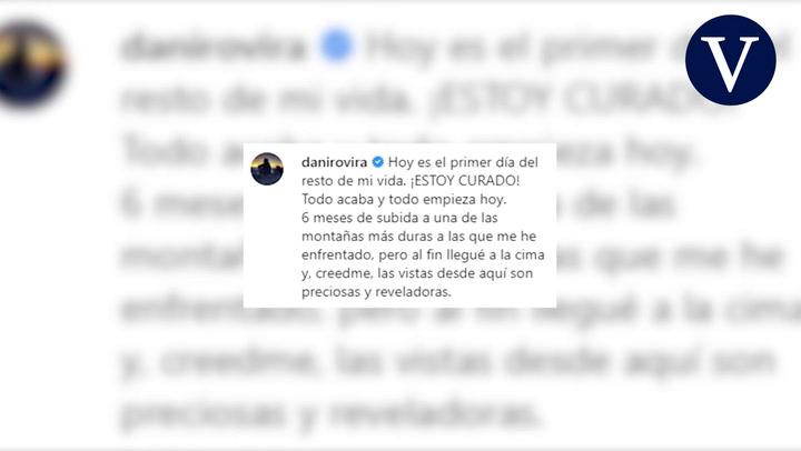 Dani Rovira anuncia que está curado del cáncer: 'Es el primer día del resto de mi vida'