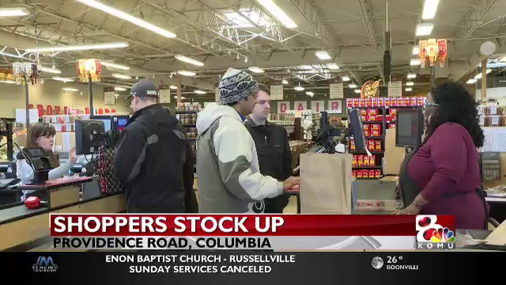 Shoppers stock up ahead of Sunday's winter weather