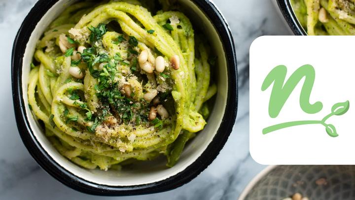 Vegán zöldségpesztós pasta videó