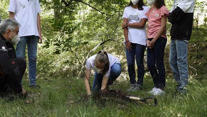 De rodillas sobre la tierra y manchándose las manos, Leonor y Sofía plantan un árbol por Europa