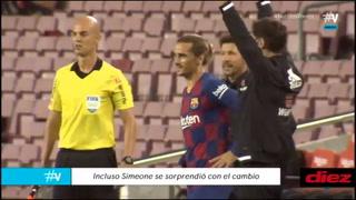 Video: La reacción de Diego Simeone al ver la entrada de Antoine Griezmann 91´ en el Barcelona-Atlético