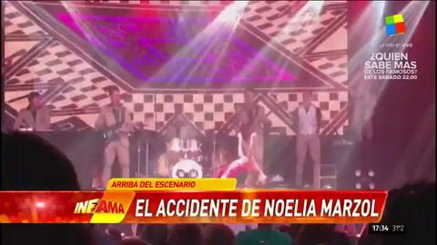 Noelia Marzol se dio un porrazo terrible en pleno espectáculo