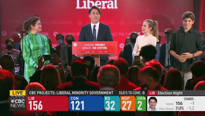 Trudeau says 'you are sending us back to work' after winning third term as PM