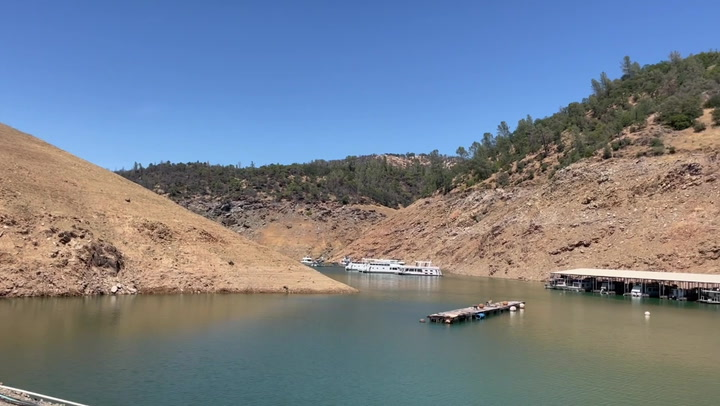 Low water levels seen in Lake Oroville in California 'megadrought'