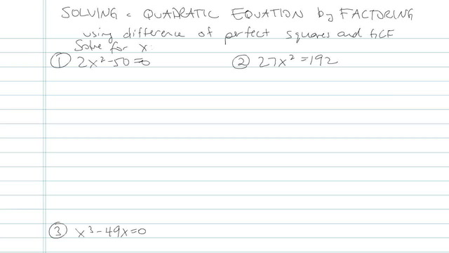 Solving Quadratic Equations by Factoring - Problem 13