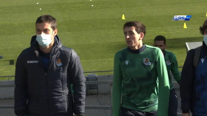 Entrenamiento de la Real Sociedad de cara al partido contra el Barça, el 15 de diciembre de 2020
