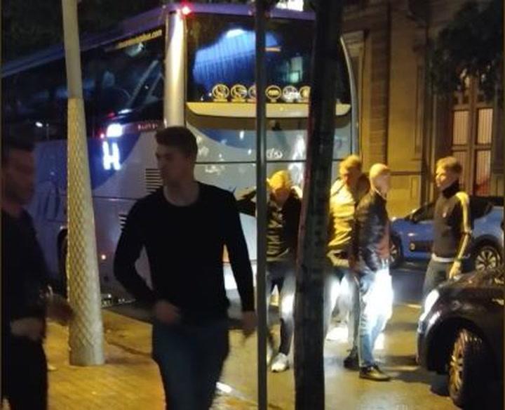 Los jugadores del Ajax,con De Jong y De Ligt, en Barcelona