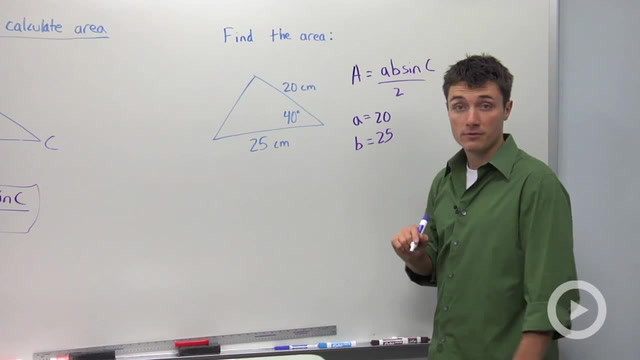Using Sine to Calculate the Area of a Triangle - Problem 1