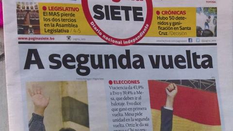 Opositor Mesa denuncia manipulación de resultados de comicios en Bolivia