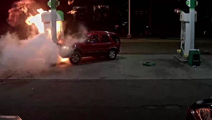 Driver does donuts at gas station, crashes into pumps, starts fire, flees scene