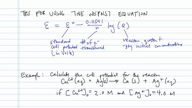 Tips for Using the Nernst Equation