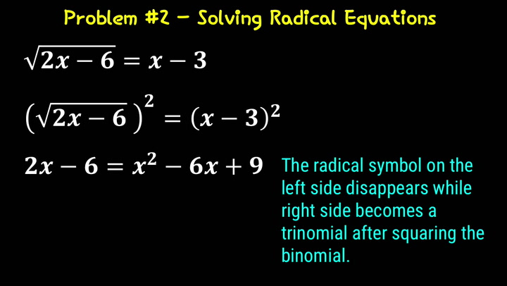 Solving Radical Equations Problem #1 Video