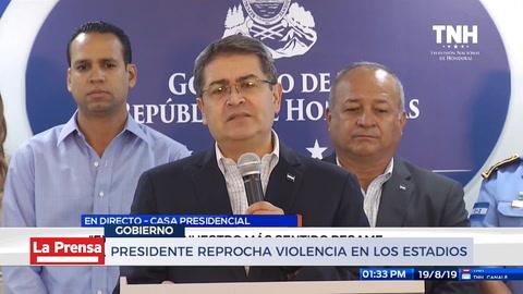 Presidente reprocha violencia en los estadios