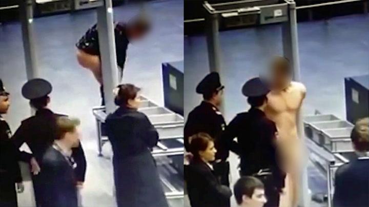 Strippet gjennom sikkerhetskontrollen i protest