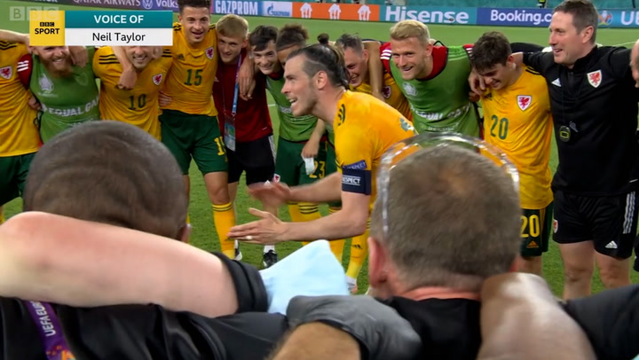 Gareth Bale apologises in Wales' post-match huddle after missing penalty