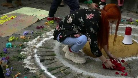 Homenaje en Bogotá a joven que murió a manos de policía en protestas de 2019