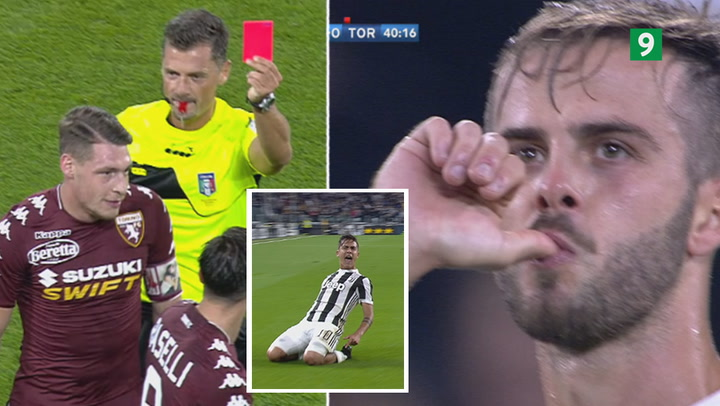 To Juventus-kasser og rødt kort i begivenhedsrig første halvleg af Torino-derby!