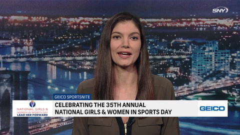 Jeane Coakley, Kara Wolters, and Maria Marino celebrate National Girls and Women in Sports Day