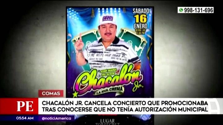 Concierto de Chacalón Jr. fue cancelado tras no contar con la autorización municipal