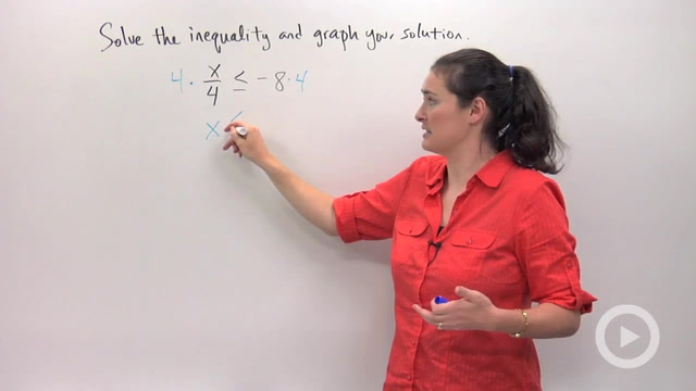 Solving and Graphing Inequalities using Multiplication or Division - Problem 2