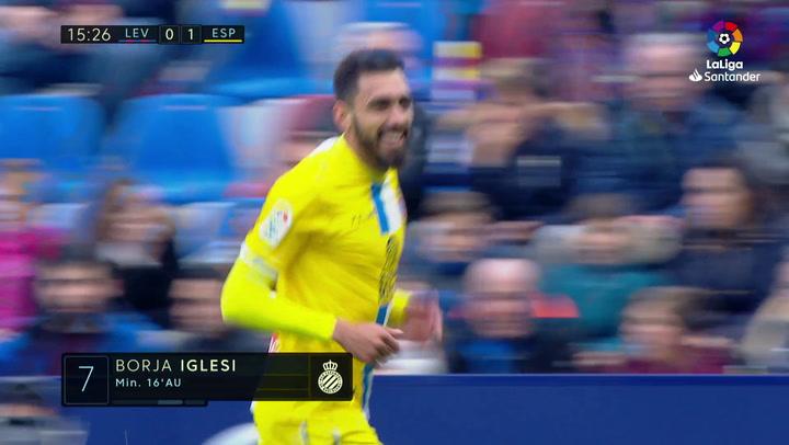 LaLiga: Levante-RCD Espanyol. Gol (0-1) de Borja Iglesias (min 16)