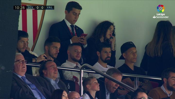 LaLiga: Sevilla - Valencia. Escudero, Sarabia, Nolito y Arana siguieron el partido desde un palco