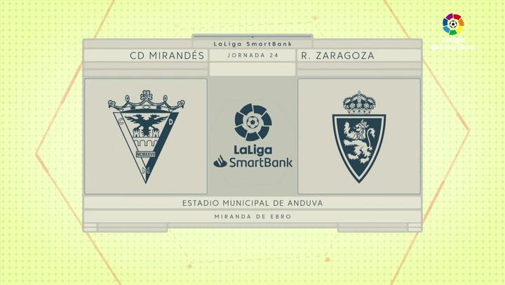 LaLiga SmartBank (J24): Resumen y goles del Mirandés 1-1 Zaragoza