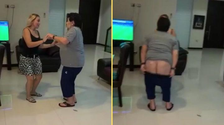 Maradona se marca un 'calvo' en pleno baile con su novia