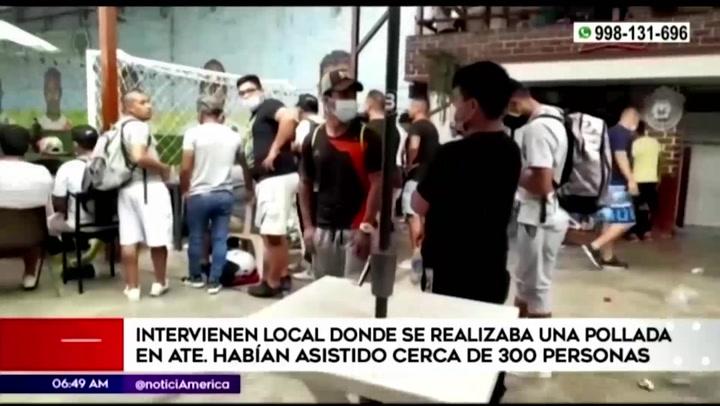 Ate: intervienen a más de 300 personas en pollada bailable