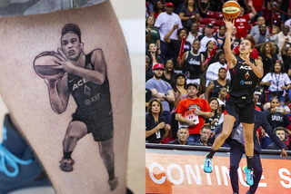 Las Vegas Aces Superfan Gets Hamby Tattoo – Video