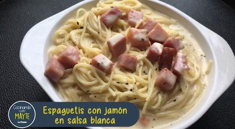 Cómo hacer espaguetis con jamón en salsa blanca