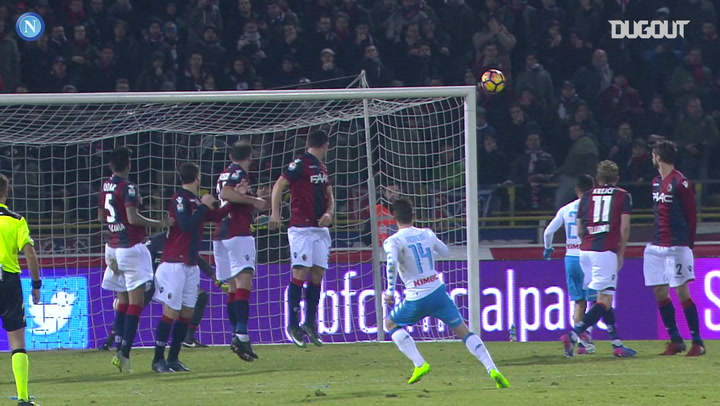 Dries Mertens' pinpoint free-kick, as Napoli thrash Bologna