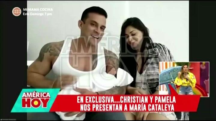 Pamela Franco y Christian Domínguez presentan a su hijita recién nacida EN VIVO