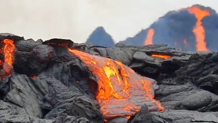 Get a closeup view of lava fountains at Iceland volcano