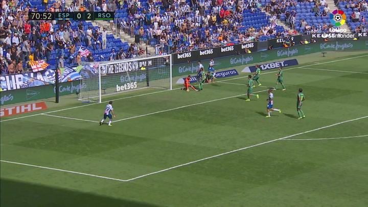 Gol de Zaldua (p.p.) (1-2) en el Espanyol 1-3 Real Sociedad