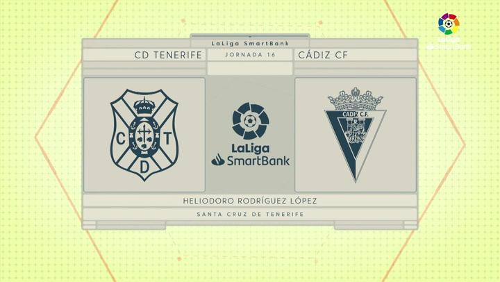 LaLiga SmartBank (J16): Resumen y goles del Tenerife 1-1 Cádiz