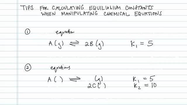 Equilibrium Constants When Manipulating Equations