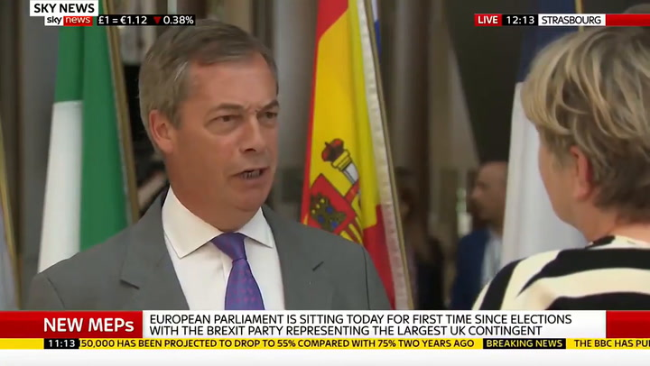 Nigel Farage explains why Brexit Party MEPs turned their back on European  anthem