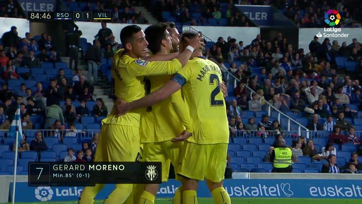 LaLiga: Real Sociedad - Villarreal. Gol de Gerard Moreno en el minuto 84 (0-1)