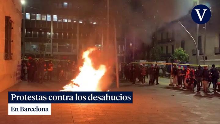 Protestas contra los desahucios en Barcelona