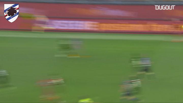 Henrikh Mkhitaryan challenged by Sampdoria's defense