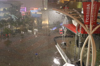 Snow falls on the Las Vegas Strip