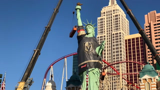 Statue of Liberty at New York-New York shows her Vegas pride